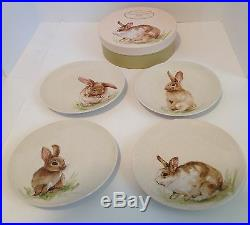 New Pottery Barn 4 Easter Pasture Bunny Salad/dessert Plates in Gift Box