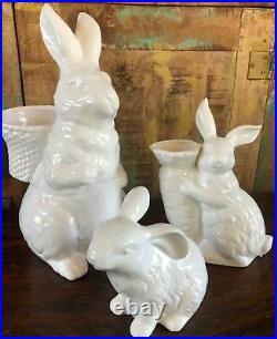 New Pottery Barn Garden Bunny Ceramic Large Medium And Small Easter Set Decor