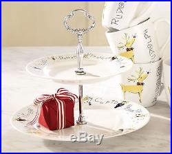 New Pottery Barn Reindeer Two Tiered Stand