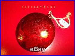New Pottery Barn Set of 6 RED Mercury Glass Ornaments Holiday Christmas