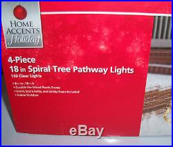 New Set of 4 Christmas Home Accents 18 Clear Spiral Tree Pathway Lights