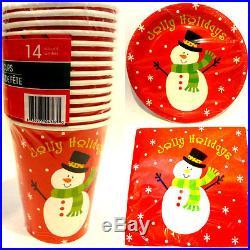 New Snowman Christmas Table Decor Plates, Napkins, Cups Set of 3