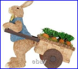 New Valerie Parr Hill Easter Spring Oversized 24 Sisal Bunny with Carrot Cart