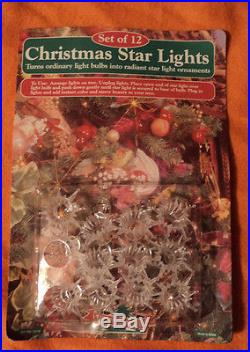 New Vintage Christmas Star Light Covers Tree Trimmers String Set Of 12 Ornaments