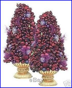 New Waterford Holiday Heirloom Mahargia Topiary Tree -set Of 2