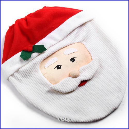 New XMAS Santa Toilet Seat Cover 3 Pcs Set Bathroom Mat