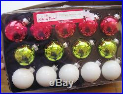 New in Box 14 Ct Red White Grinch Green Glass Ball Christmas Holiday Ornaments