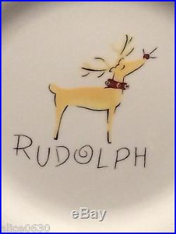 New in Box SET of 4 POTTERY BARN RUDOLPH REINDEER DINNER PLATES RARE FIND