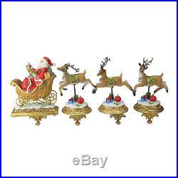Northlight Set of 4 Santa and Reindeer Glittered Christmas Stocking Holder 9.5