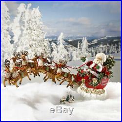 Now Dash Away All Musical Santa with Reindeer Fabriche Christmas Figurine Set
