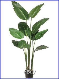 ONE 5′ Bird of Paradise Artificial Plant in Plastic Pot Green Decor. Silk Plant