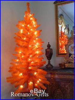 ORANGE, Autumn, Halloween, Christmas Tree Pre-lit, 4 Ft