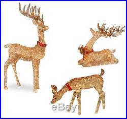 OUTDOOR LIGHTED PRE LIT 3-Pc Deer Family DISPLAY CHRISTMAS YARD ART DECOR #10098