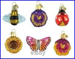 Old World Christmas Mini Garden Set of 6 Glass Ornament