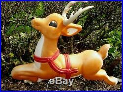 One Blow Mold Reindeer Santa's Flying Reindeer Lighted Plastic 29