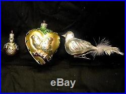 Ornament European Inspired Blown Glass Three Bird Ornaments