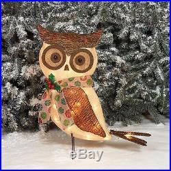 Outdoor Christmas 24 Sparkling Burlap Bark Owl Pre-Lit Lighted Sculpture Decor