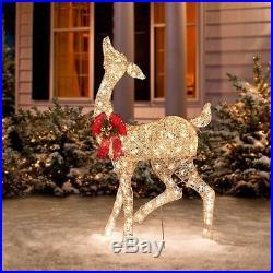Outdoor Christmas Champagne Pre Lit Reindeer Doe Deer Sculpture Yard Decoration