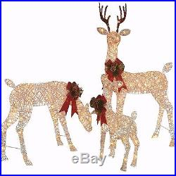 Outdoor Christmas Decor Lighted 3 Piece Deer Family Yard Xmas Holiday Decoration