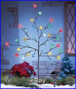 Outdoor Christmas Decoration 32 SOLAR LIGHTS LIGHTED SNOWFLAKE TREE RED GREEN