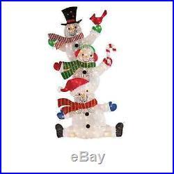 Outdoor Christmas Decoration 3 Lighted Santa Snowman 60 Yard Xmas Holiday Decor