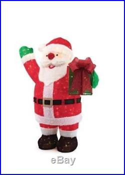 Outdoor Christmas Decoration 84 in 400 LED Lights Giant Fuzzy Tinsel Santa Claus