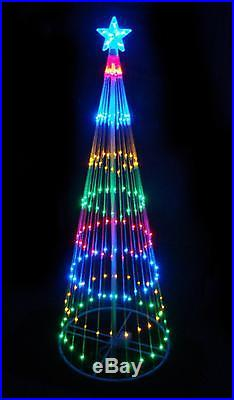 Outdoor Christmas Lighted Tree Decoration 4′ Multi-Color LED Light Show Cone