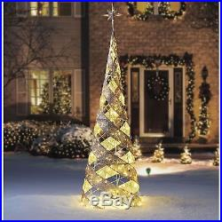 Outdoor Christmas Pre Lit Tree Gold Mesh 7ft Spiral Cone Warm White LED Decor