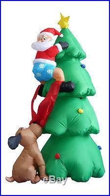Outdoor Christmas Santa Claus Decor Tree Night Light Holiday Home Dog Climb Gift