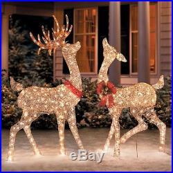 Outdoor Christmas Set of 2 Champagne Lighted Reindeer Doe Buck Deer Sculptures