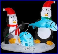 Outdoor Christmas Yard Decor Inflatable Animated Penguins Ice Fishing Santa Hats