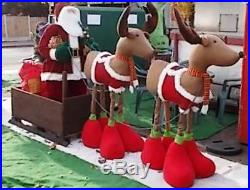 Outdoor Christmas decorations huge display of 2 4ft deer with sleigh & Santa