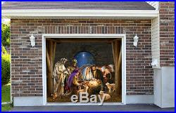 Outdoor Decoration Garage Door Christmas Nativity Scene House Banner Decor 7by8