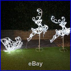 Outdoor Garden Lawn Path Christmas Reindeer & Sleigh Acrylic Led Light Set