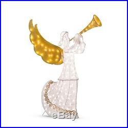 Outdoor Lighted 56 Animated Christmas Angel Horn Sculpture Yard Lawn Decor PS