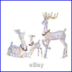 Outdoor Lighted Set of 3 Twinkling Reindeer Deer Christmas Display Yard Decor