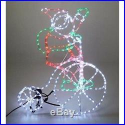 Outdoor Santa Rope Light Silhouette Bicycle Flashing Wheel LED Christmas Wall