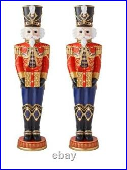 PAIR of Life-Size 6′ Tall Pre-Lit LED Christmas Holiday Nutcracker Toy Soldiers
