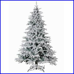 PE&PVC 1400 Tips 7.5FT Artificial Christmas Trees Flocked Snow White Tree