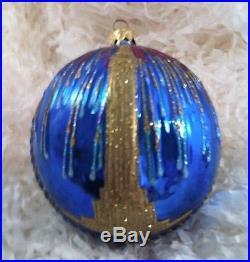 POLONAISE POLISH BLOWN GLASS NEW YORK EMPIRE STATE BUILDING CHRISTMAS ORNAMENT