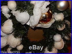 POTTERY BARN Indoor/Outdoor Ornamental Pine Wreath + 60 Garland Gold Silver 22
