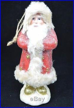 POTTERY BARN NORDIC SANTA ORNAMENT CHRISTMAS NEW 6.25