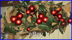 POTTERY BARN RED MAGNOLIA & ORNAMENT GARLAND CHRISTMAS NEW With TAG FREE SHIPPING