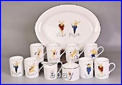 POTTERY BARN REINDEER Oval Platter, (8) Mugs, Sugar w Lid, Creamer ORIGINAL BOX