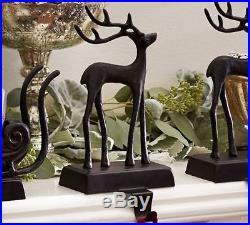 POTTERY BARN Santa's Sleigh Reindeer Christmas Stocking Holder Bronze set of 3