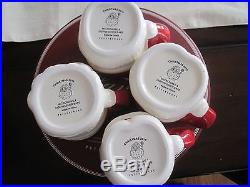 POTTERY BARN Vintage SANTA CLAUS MUGS Christmas Mug Holiday SET 4 Expressions