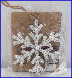 POTTERY BARN White Beaded Snowflake Christmas Ornament, NEW IN BOX-HTF-6 AVAIL