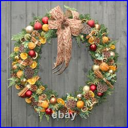 PREMIUM 80cm FESTIVE DOOR WREATH HANGER CHRISTMAS HANGING DISPLAY DECORATIONS