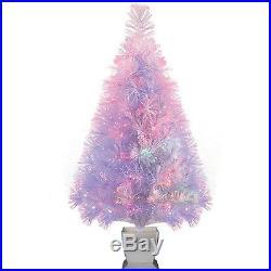 PRE-LIT CHRISTMAS TREE 32 Artificial Fiber Optic Change Lighting Holiday Decor