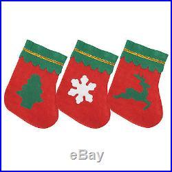 Pack of 12 Small Mini Miniature Felt Christmas Stockings (3 Designs)
